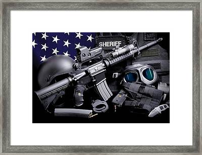 Law Enforcement Tactical Sheriff Framed Print by Gary Yost