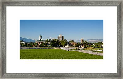 Lawn With Salt Lake City Council Hall Framed Print by Panoramic Images
