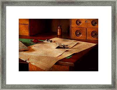 Lawyer - Optician - Reading The Fine Print  Framed Print by Mike Savad
