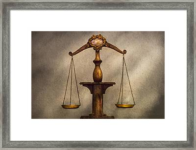 Lawyer - Scale - Fair And Just Framed Print by Mike Savad