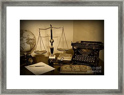 Lawyer - The Lawyer's Desk In Black And White Framed Print by Paul Ward