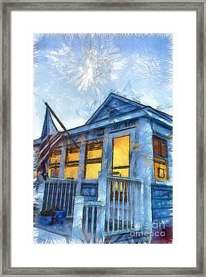 Lazy Daze Beach Cottage Pencil Sketch Framed Print by Edward Fielding