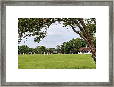Lazy Sunday Afternoon - Cricket On The Village Green Framed Print by Gill Billington