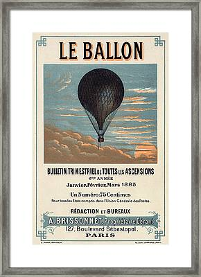 Le Ballon Advertising For French Aeronautical Journal Framed Print by Georgia Fowler