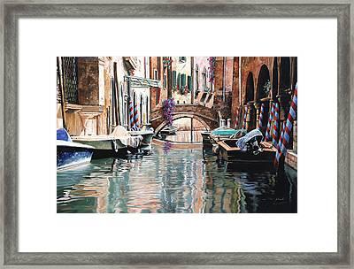 Le Barche E I Pali Colorati Framed Print by Guido Borelli
