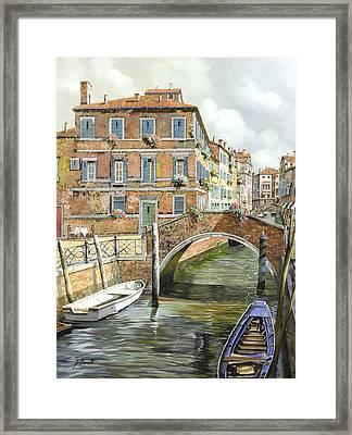 Le Barche Sotto Il Ponte Framed Print by Guido Borelli