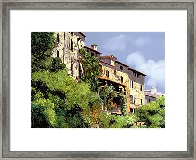 Le Case Sulla Rupe Framed Print by Guido Borelli