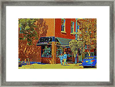 Le Fouvrac Foods Chocolates And Coffee Shop Corner Garnier And Laurier Montreal Street Scene Framed Print by Carole Spandau
