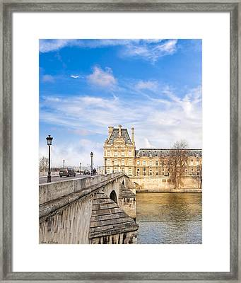 Le Pont Royal And The Louvre - Paris On The River Framed Print by Mark E Tisdale