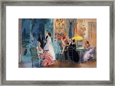 Le Soir Au Chateau Framed Print by Henri Lucien Doucet