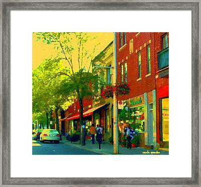 Le Trio French Speciality Shops Fleuriste Patissier Chocolatier Montreal Street Scene Carole Spandau Framed Print by Carole Spandau