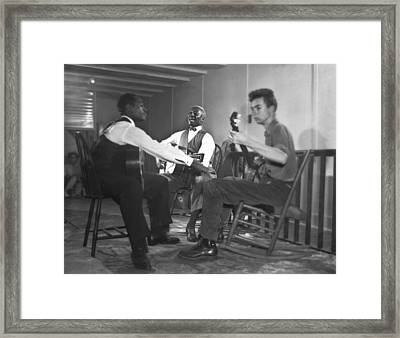 Leadbelly, White, Pete Seeger Framed Print by Underwood Archives