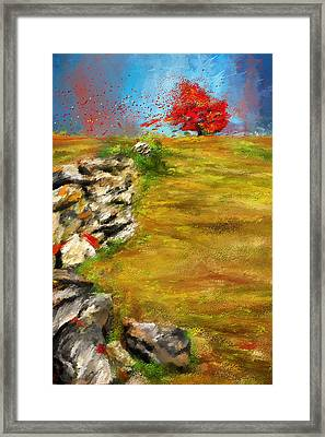 Leading Red - Autumn Impressionist Framed Print by Lourry Legarde