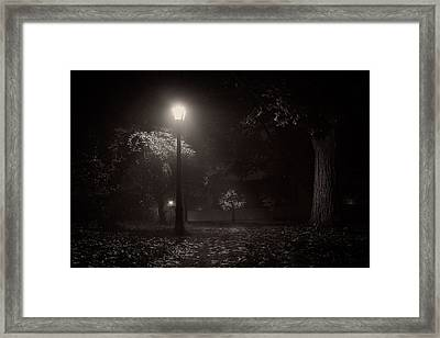Leaf Covered Path At Night Framed Print by Chris Bordeleau