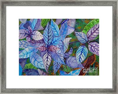 Leafy Blues Framed Print by Caroline Street