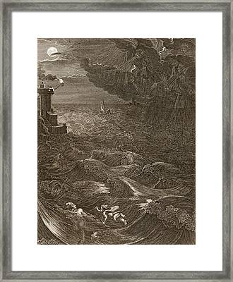 Leander Swims Over The Hellespont Framed Print by Bernard Picart