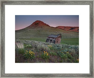 Leaning Shed Framed Print by Leland D Howard