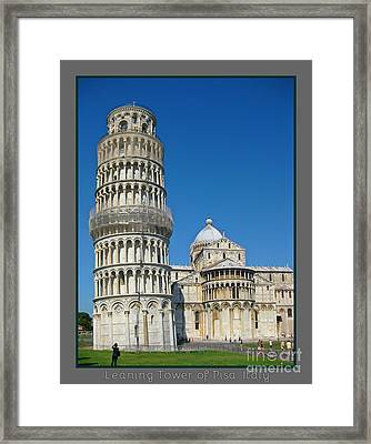 Leaning Tower Of Pisa Framed Print by John Malone