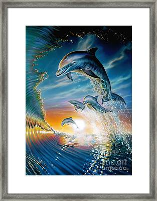 Leaping Dolphins Framed Print by Adrian Chesterman