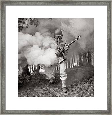 Learning How To Use A Gas Mask Circa 1942 Framed Print by Aged Pixel