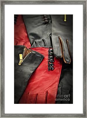 Leather Gloves Framed Print by Elena Elisseeva