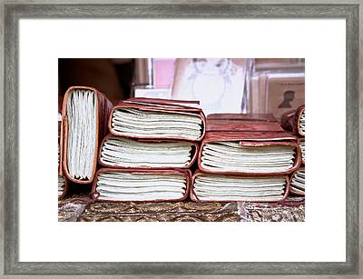 Leather Notebooks Framed Print by Tom Gowanlock