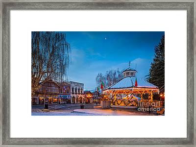 Leavenworth Christmas Moon Framed Print by Inge Johnsson