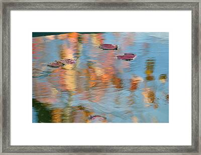 Leaves Real And Reflected Framed Print by Frozen in Time Fine Art Photography