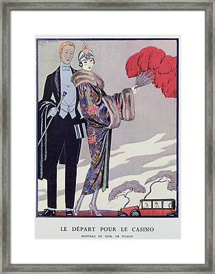 Leaving For The Casino Framed Print by Georges Barbier