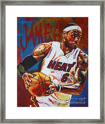 Lebron James 3 Framed Print by Maria Arango