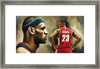 Lebron James Artwork 1 Framed Print by Sheraz A