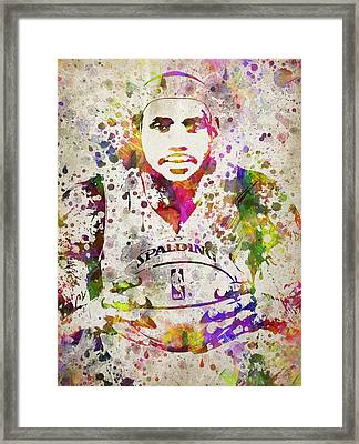 Lebron James In Color Framed Print by Aged Pixel