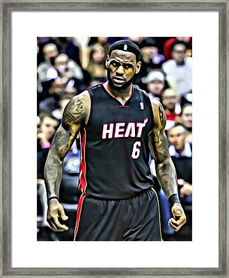 Lebron James Portrait Framed Print by Florian Rodarte