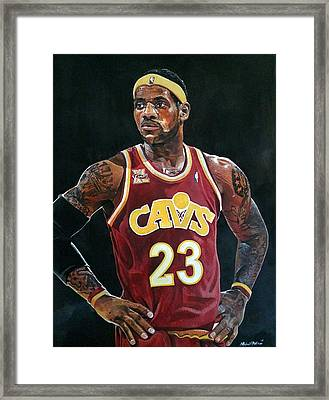 Lebron James Returns To The Cleveland Cavaliers Framed Print by Michael  Pattison