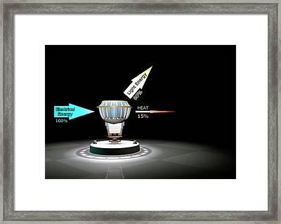 Led Light Bulb Efficiency Framed Print by Animate4.com/science Photo Libary