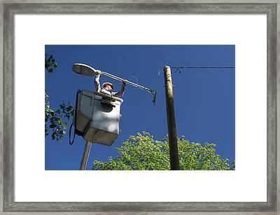 Led Street Light Installation Framed Print by Jim West