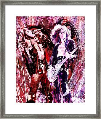 Led Zeppelin - Jimmy Page And Robert Plant Framed Print by Ryan Rock Artist