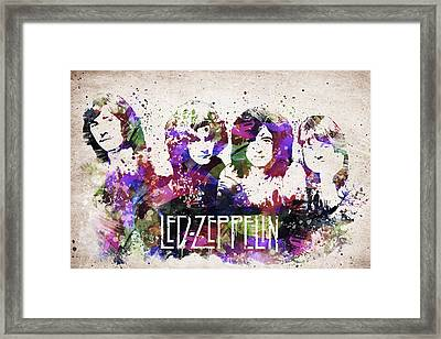 Led Zeppelin Portrait Framed Print by Aged Pixel