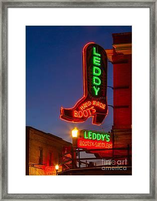 Leddy Boots Neon Framed Print by Inge Johnsson