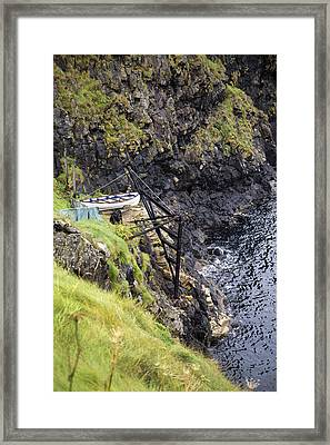 Ledge Boat Carrick-a-rede Northern Ireland Framed Print by Betsy Knapp