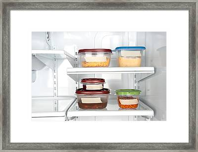 Leftovers In Plastic Containers Framed Print by Joe Belanger