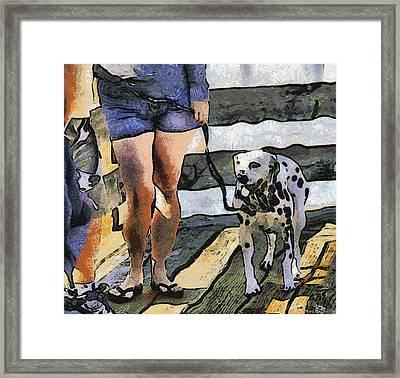 Leggy Girl And Dog Spot Framed Print by Barbara Snyder