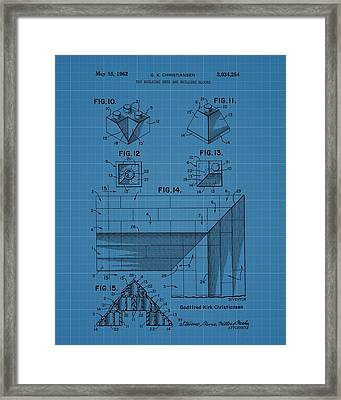Lego Blocks Patent Drawing Framed Print by Dan Sproul