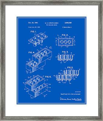 Lego Building Brick Patent - Blueprint Framed Print by Finlay McNevin