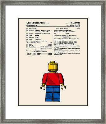 Lego Man Patent - Colour - Version One Framed Print by Finlay McNevin