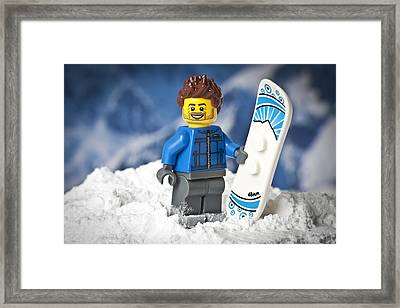 Lego Snowboarder Framed Print by Samuel Whitton
