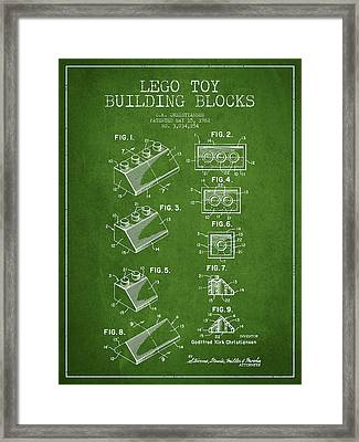 Lego Toy Building Blocks Patent - Green Framed Print by Aged Pixel