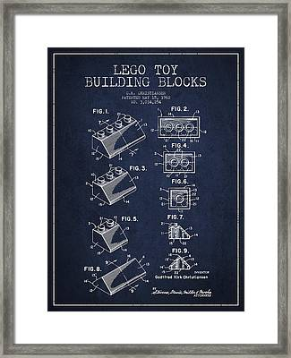 Lego Toy Building Blocks Patent - Navy Blue Framed Print by Aged Pixel