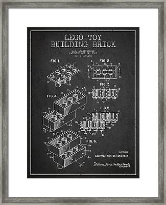 Lego Toy Building Brick Patent - Dark Framed Print by Aged Pixel