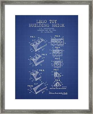 Lego Toy Building Brick Patent From 1962 - Blueprint Framed Print by Aged Pixel